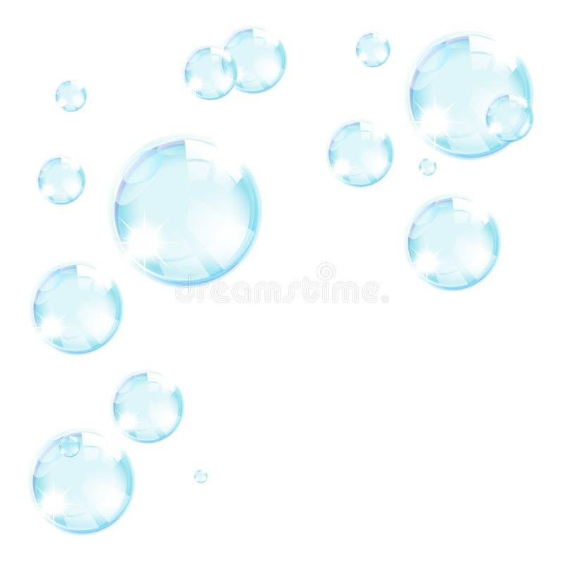 Fond bleu de bulles de savon illustration libre de droits