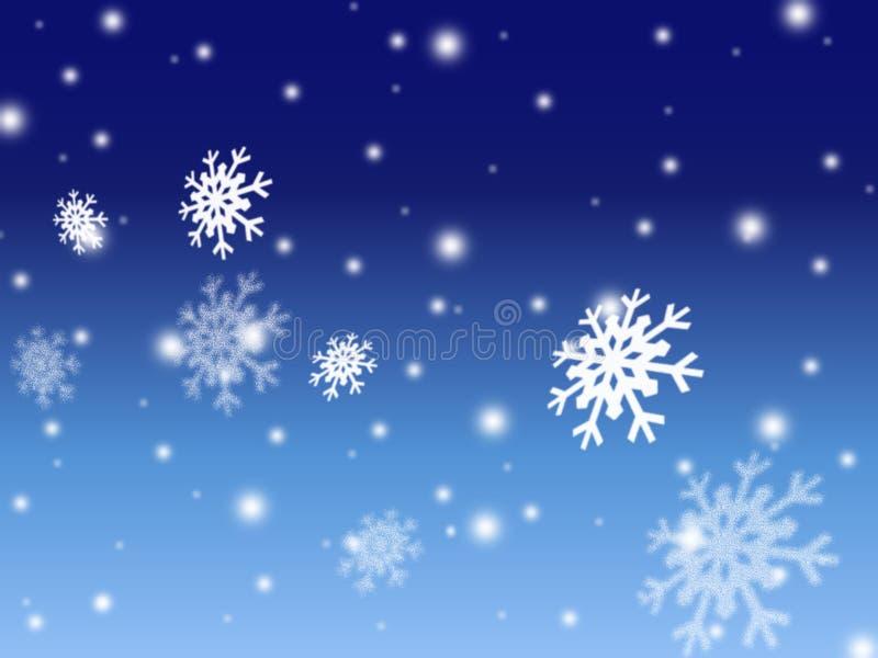 Fond bleu de carte de neige de Noël illustration de vecteur