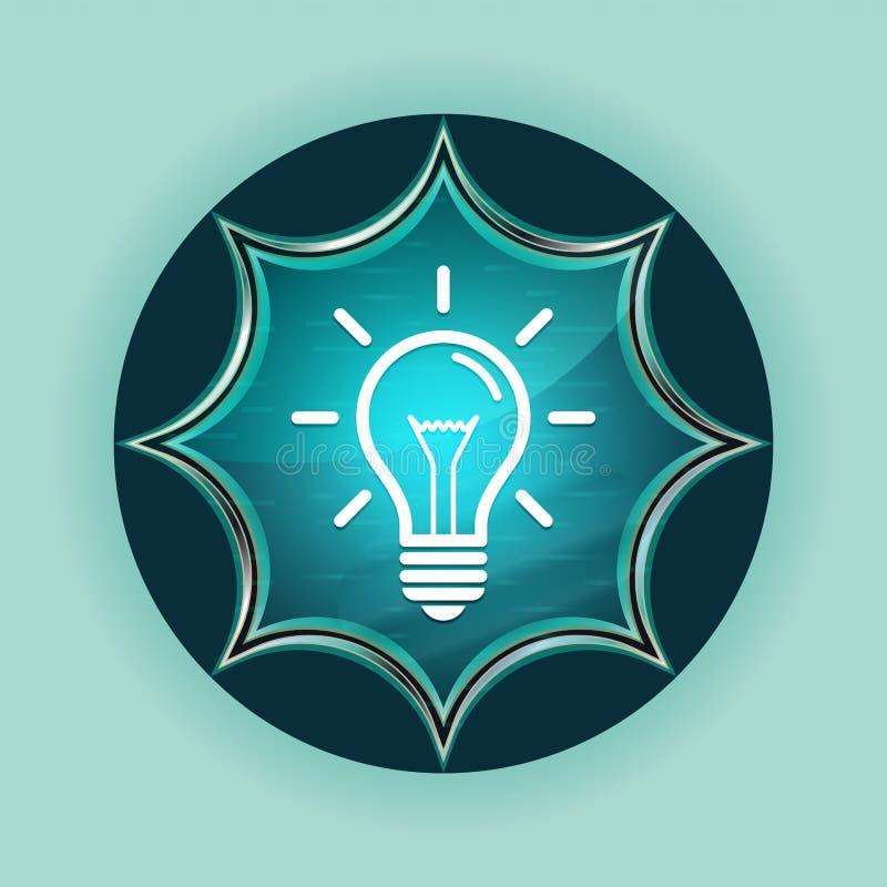Fond bleu de bleu de ciel de bouton de rayon de soleil vitreux magique d'icône d'ampoule illustration stock