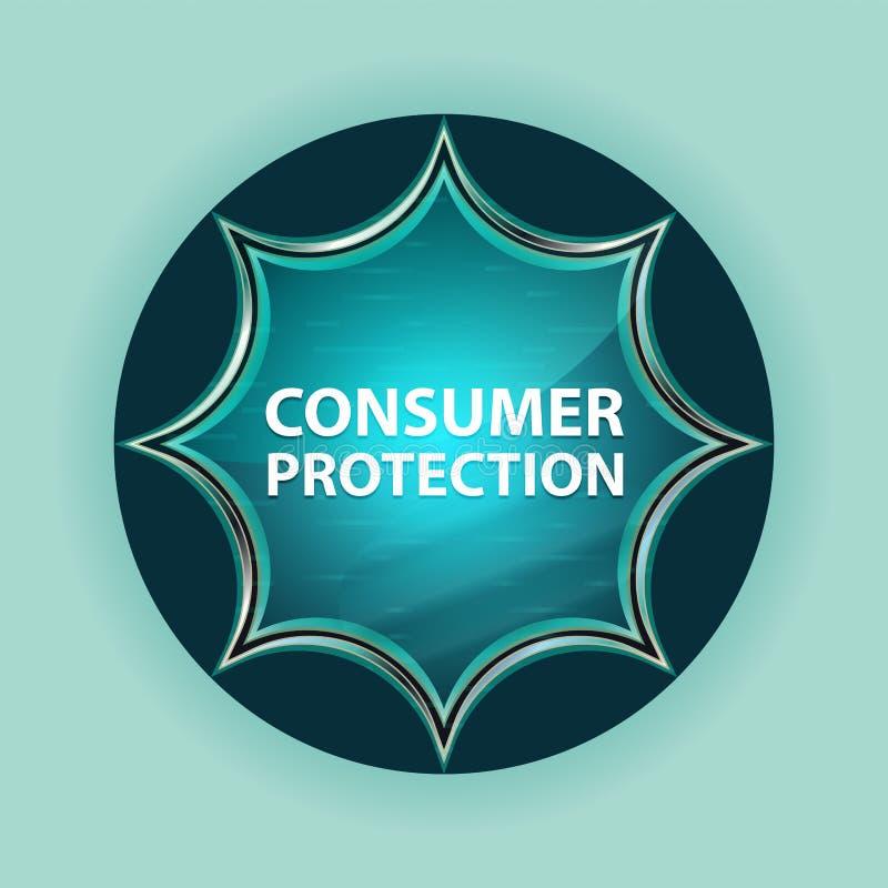 Fond bleu de bleu de ciel de bouton de rayon de soleil vitreux magique de protection des consommateurs illustration de vecteur