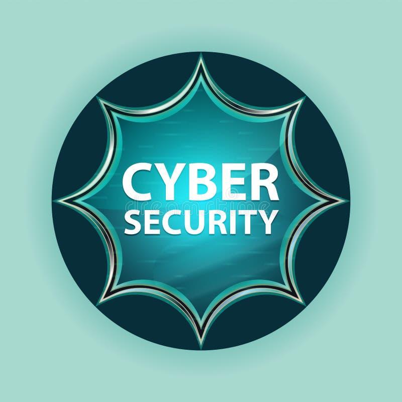 Fond bleu de bleu de ciel de bouton de rayon de soleil vitreux magique de sécurité de Cyber illustration stock