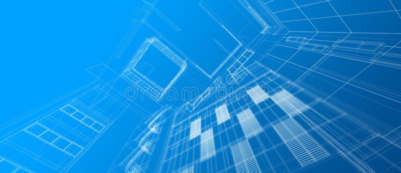 Fond bleu de couleur de fil de perspective du concept de construction de l'espace de b?timent d'architecture 3d de cadre de gradi illustration de vecteur