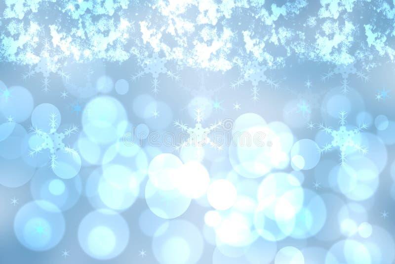 Fond bleu de fête brouillé par résumé pour Noël d'hiver avec les lumières bleues defocused de bokeh illustration libre de droits