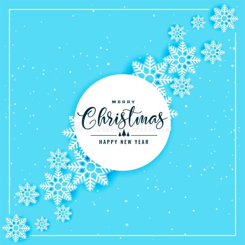 Fond bleu de flocons de neige pour la saison de Noël et d'hiver illustration de vecteur
