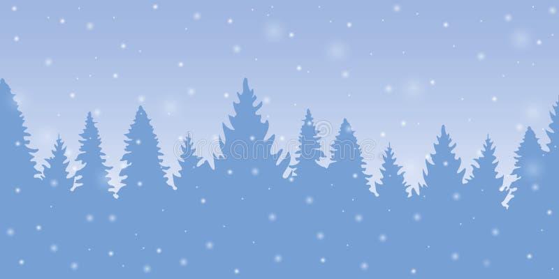 Fond bleu de forêt d'hiver de Milou avec des sapins illustration libre de droits
