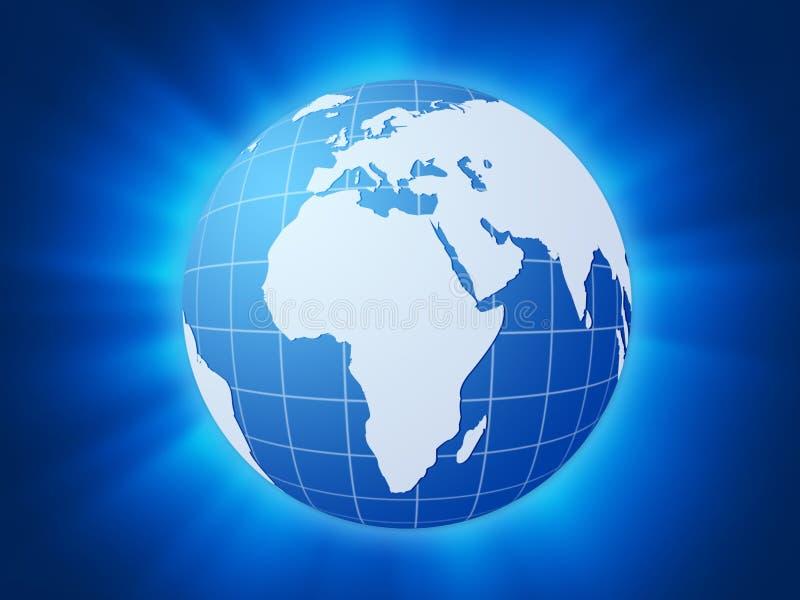 Fond bleu de globe du monde illustration de vecteur