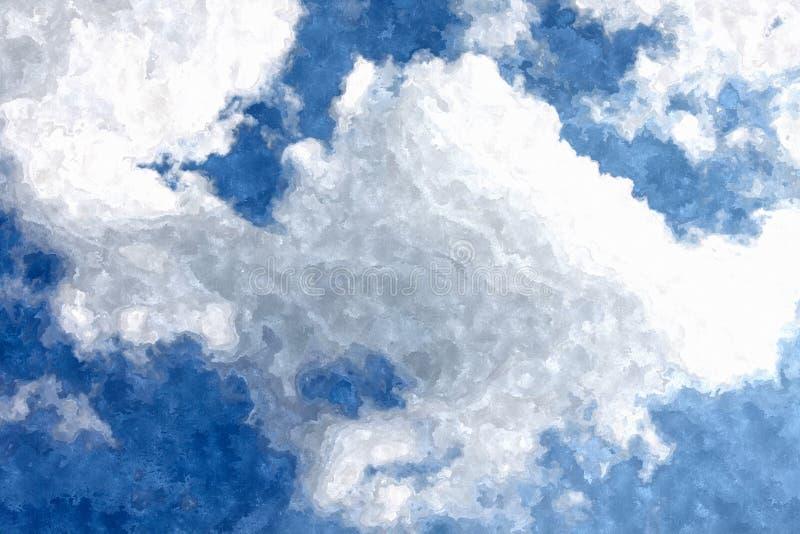 Fond bleu de grunge d'aquarelle de ciel nuageux images stock