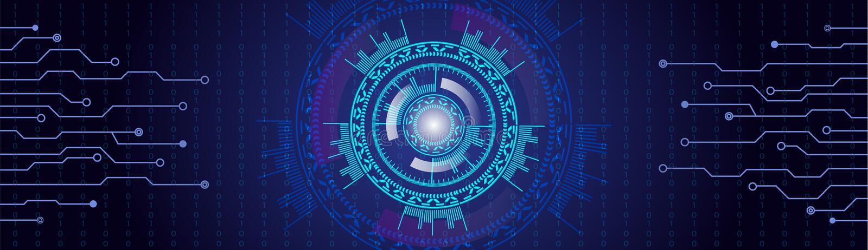 Fond bleu de HUD de velours avec des lignes et des nombres À lecture tête haute illustration de vecteur