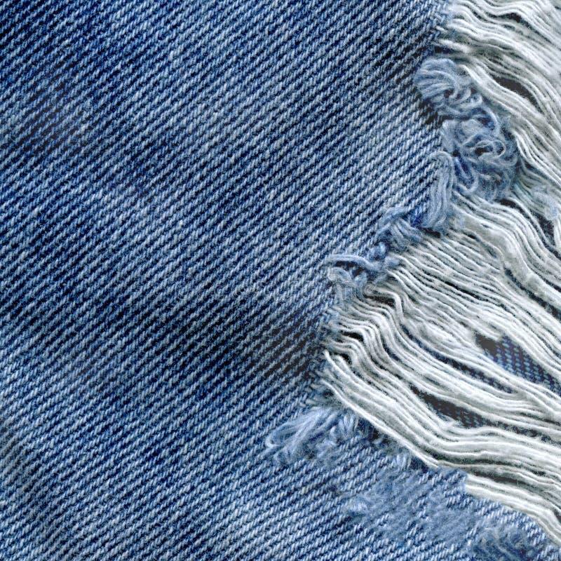 Fond bleu de Jean Texture de denim Texture de tissu déchirée par jeans images libres de droits