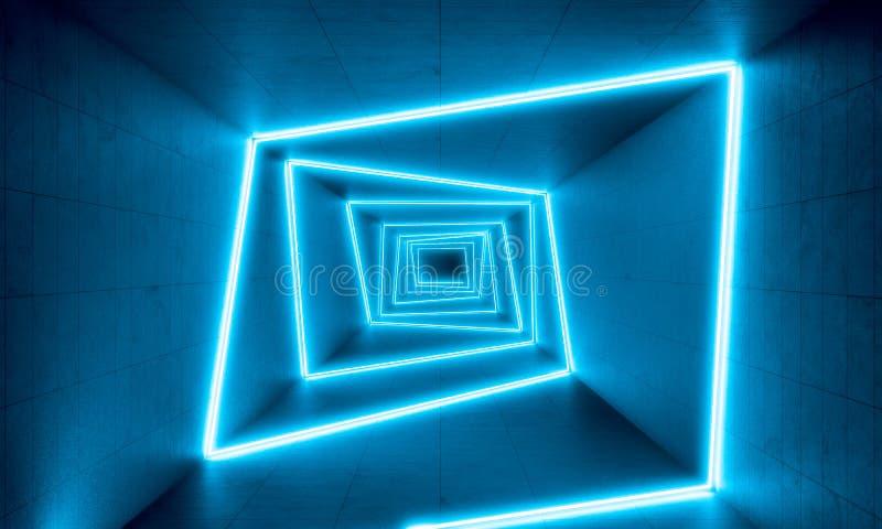 Fond bleu de lampes au néon illustration libre de droits