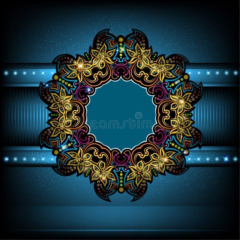 fond bleu de luxe avec le cadre brillant de cercle de fleur illustration de vecteur