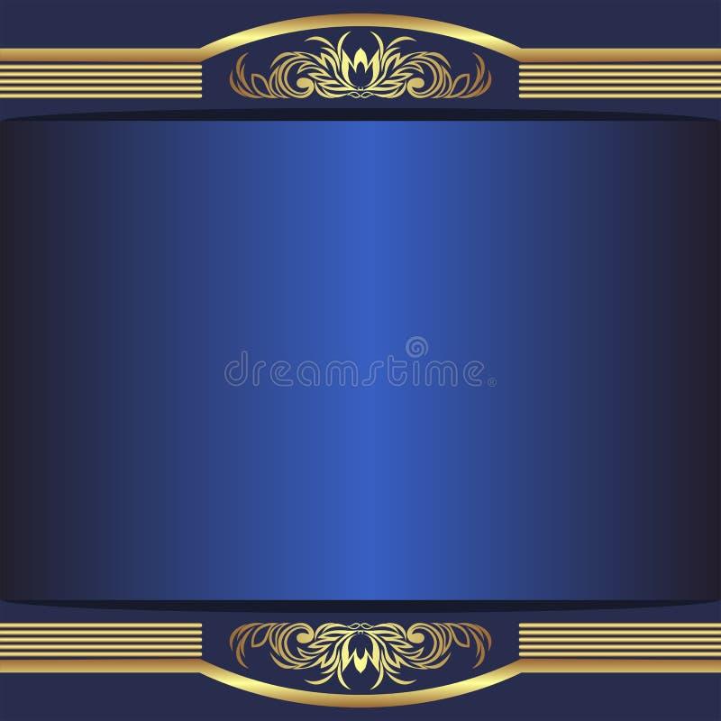 Fond bleu de luxe avec les frontières d'or élégantes et endroit pour le texte illustration libre de droits