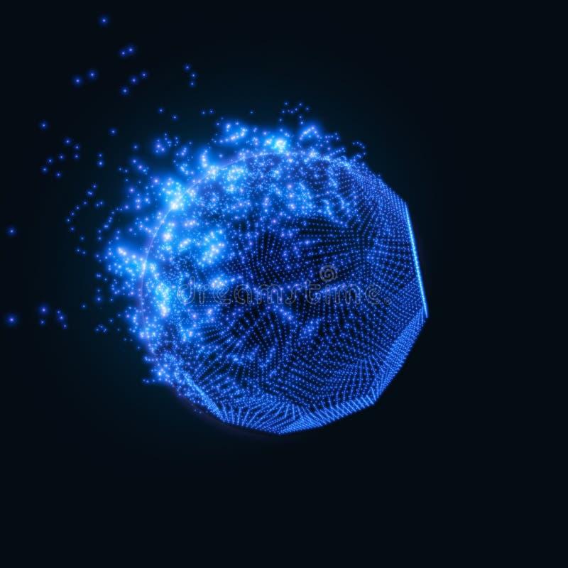 Fond bleu de maille de vecteur abstrait Destruction de la comète abstraite Style futuriste de technologie illustration libre de droits