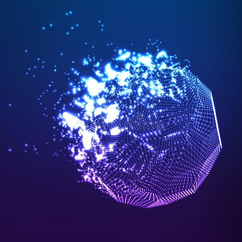 Fond bleu de maille de vecteur abstrait Destruction de la comète abstraite Style futuriste de technologie illustration de vecteur