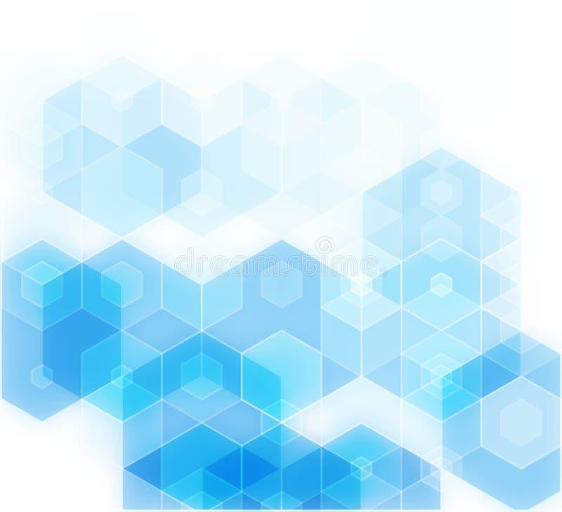 Fond bleu de mosaïque de grille, calibres créatifs de conception illustration stock