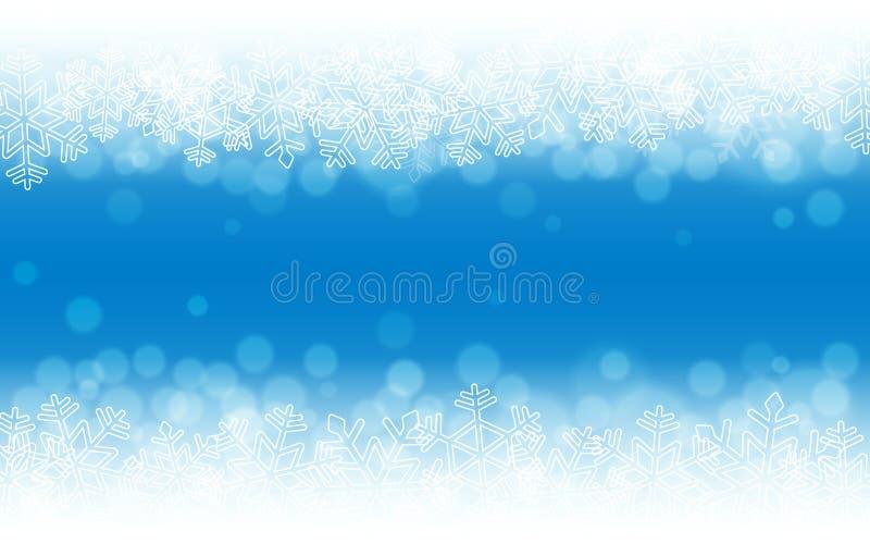 Fond bleu de neige Flocons de neige avec les particules et le bokeh Thème d'hiver de vacances Contexte brouillé Calibre de Noël illustration libre de droits