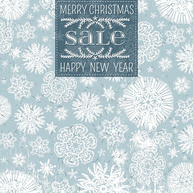 Fond bleu de Noël avec les flocons de neige et le labe illustration stock