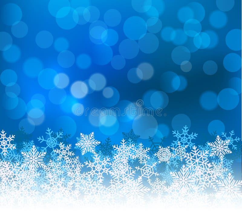 Fond bleu de Noël de bokeh d'hiver avec des flocons de neige Décoration de vacances de bokeh de Noël pour la carte de voeux illustration stock