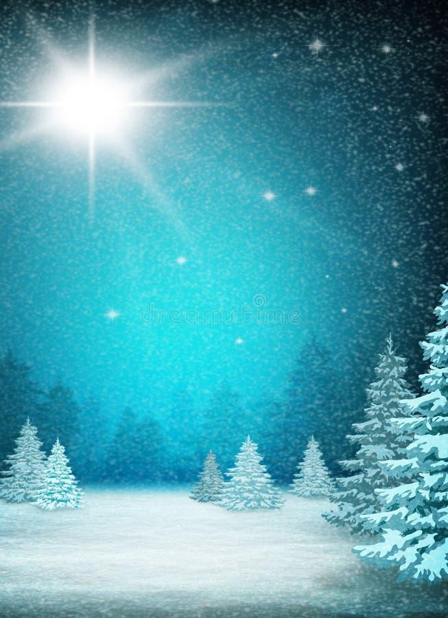 Fond bleu de Noël Forêt d'hiver, chutes de neige et un scintillement illustration de vecteur