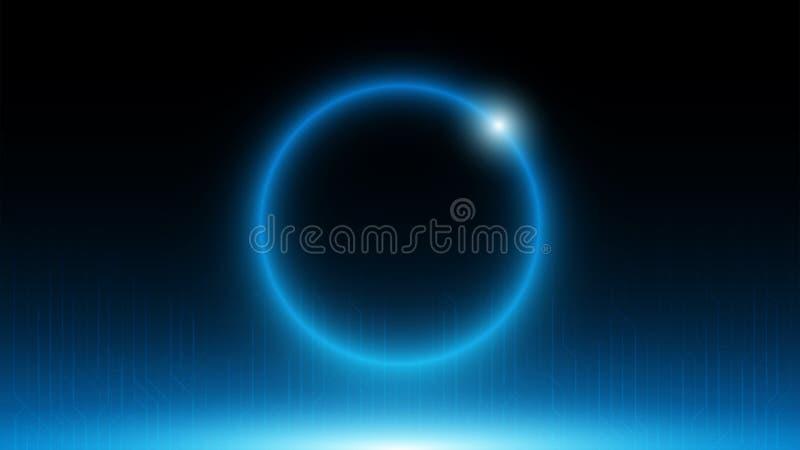 Fond bleu de panneau de serveur de circuit avec le cercle bleu au centre illustration de vecteur