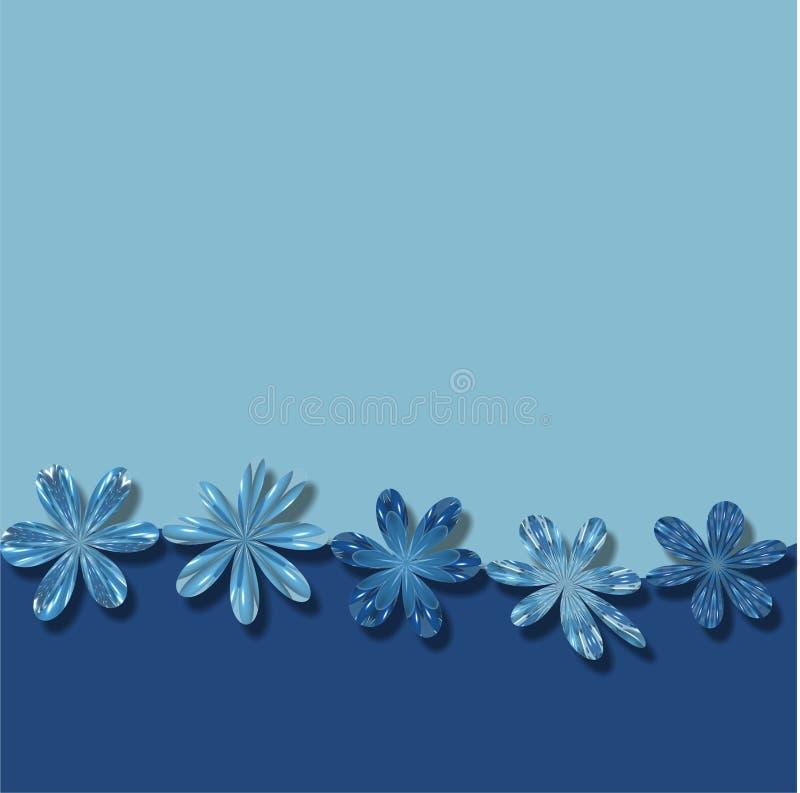Fond bleu de papier peint de vue de fleurs illustration de vecteur