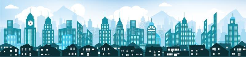 Fond bleu de paysage urbain illustration de vecteur