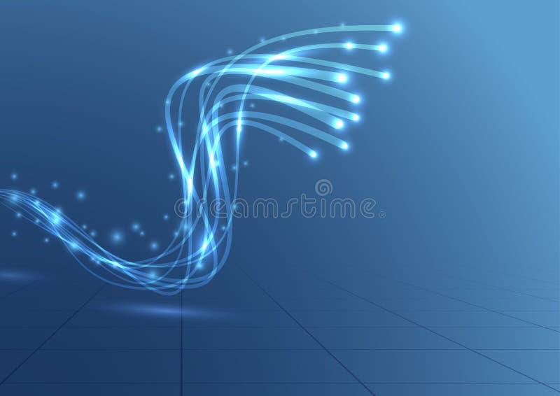 Fond bleu de perspective de câble de largeur de bande illustration libre de droits