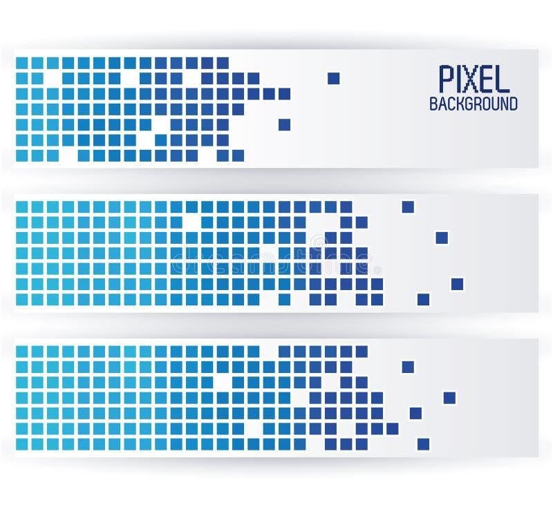 Fond bleu de pixel dans la conception horizontale de bandes illustration libre de droits