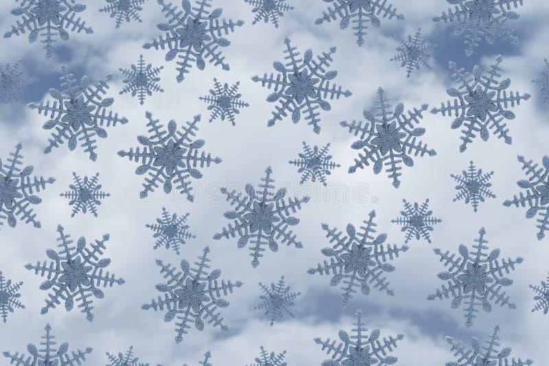 Fond bleu de répétition de modèle de flocon de neige illustration stock