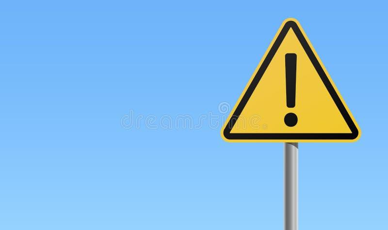 Fond bleu de signe d'exclamation d'icône d'avertissement noire jaune de marque illustration de vecteur