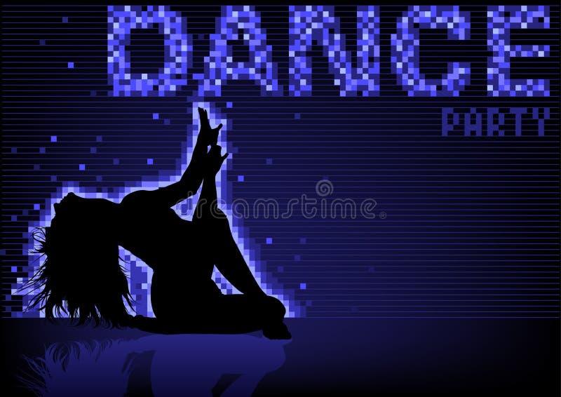 Fond bleu de soirée dansante illustration de vecteur