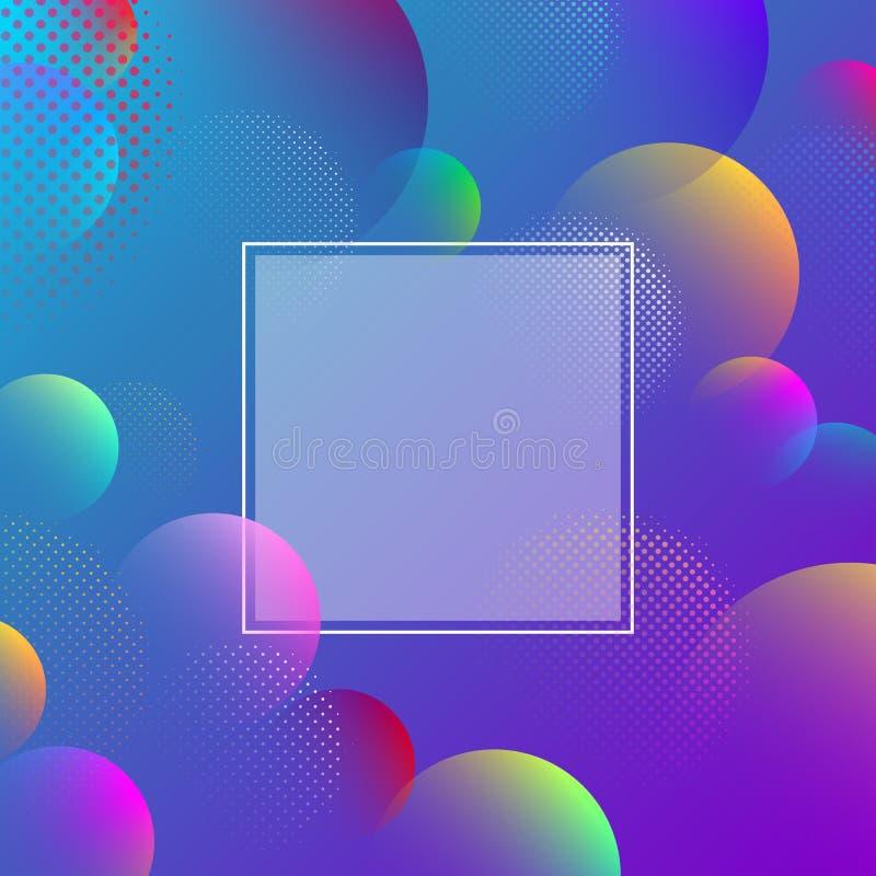 Fond bleu de spectre avec le modèle de bulles d'abrégé sur couleur illustration libre de droits