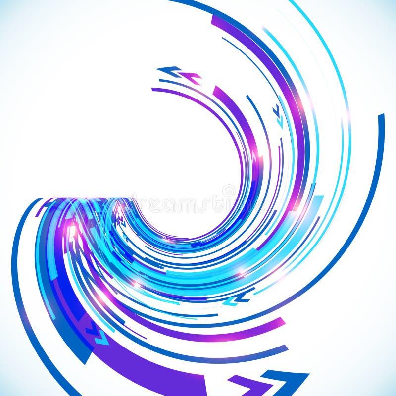 Fond bleu de spirale de techno de vecteur abstrait illustration stock