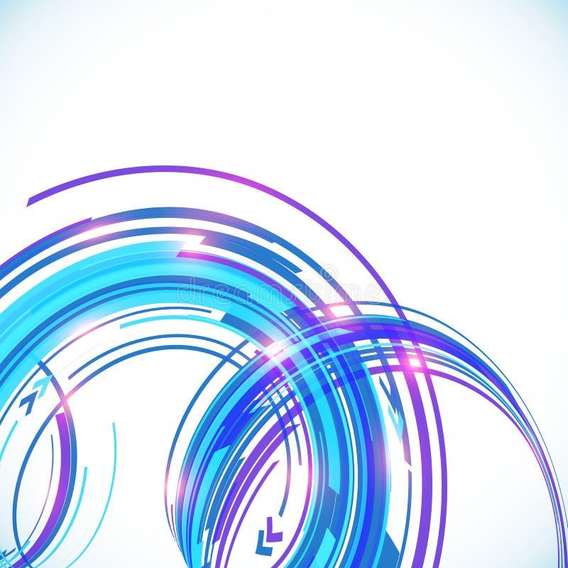 Fond bleu de spirale de techno de vecteur abstrait illustration libre de droits