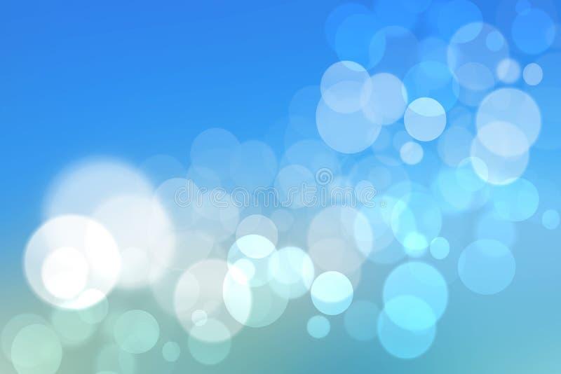 Fond bleu de texture de tache floue colorée abstraite avec les cercles blancs et bleus de bokeh dans le style doux de couleur Cal illustration de vecteur