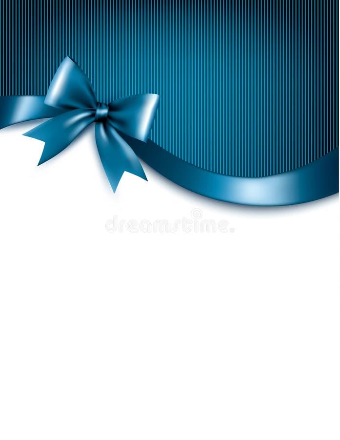 Fond bleu de vacances avec l'arc brillant et les rubans de cadeau rouge illustration de vecteur
