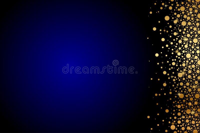 Fond bleu avec des confettis d'or illustration de vecteur
