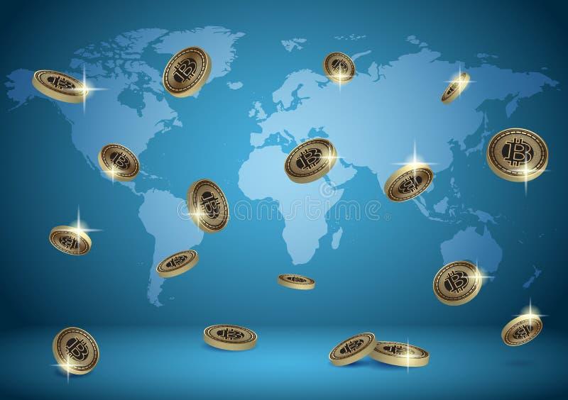Fond bleu de vecteur avec la carte du monde et les bitcoins illustration stock