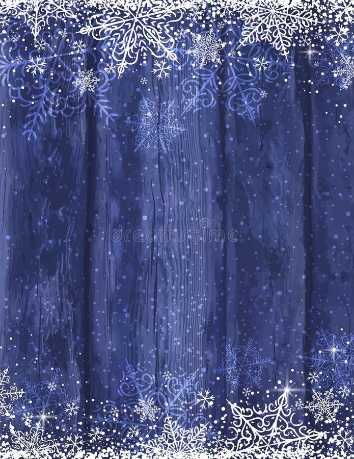 Fond bleu en bois de Noël avec des flocons de neige, vecteur illustration de vecteur