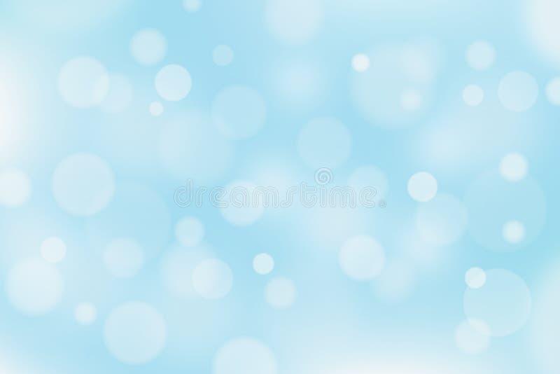 Fond bleu et blanc abstrait avec l'effet de bokeh illustration de vecteur