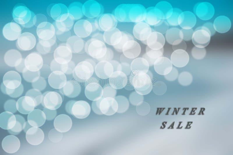 Fond bleu et blanc de bokeh en vente bleue d'hiver photo stock