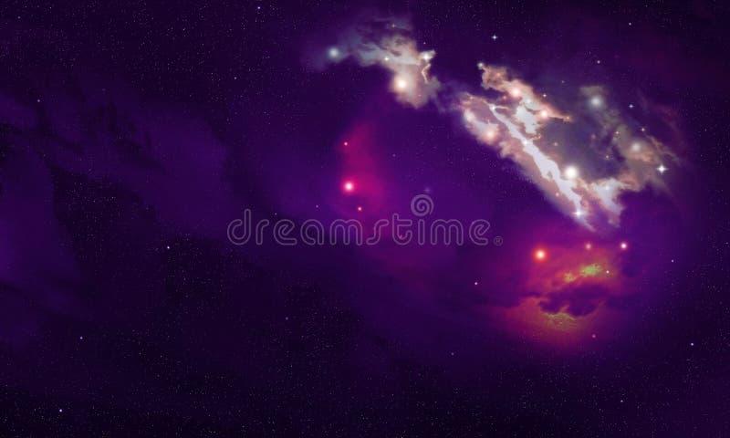 Fond bleu et pourpre avec le ciel étoilé de Ne de l'espace et l'explosionnbula cosmique photos stock