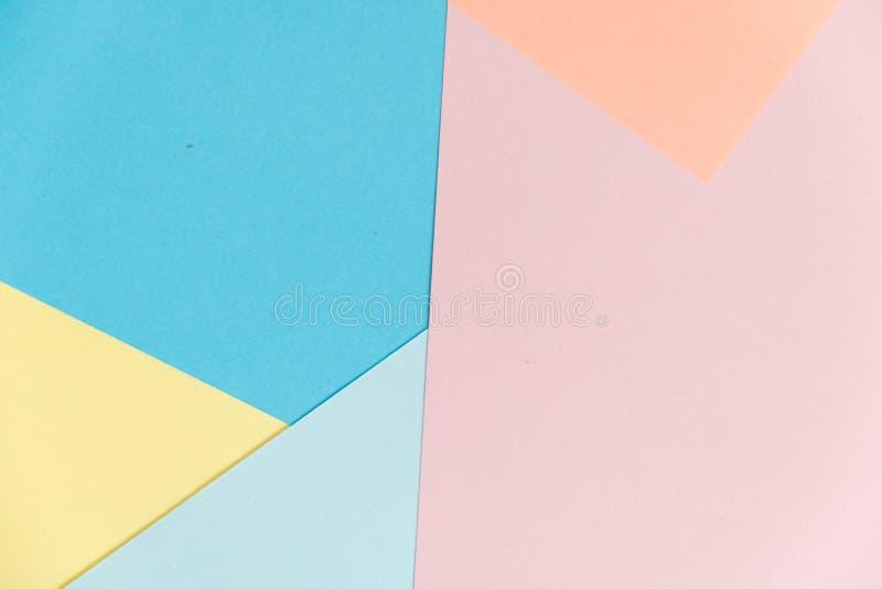 Fond bleu et rose de texture de papier de couleur en pastel Fond de papier géométrique abstrait couleurs de tendance Coloré du CC photo stock
