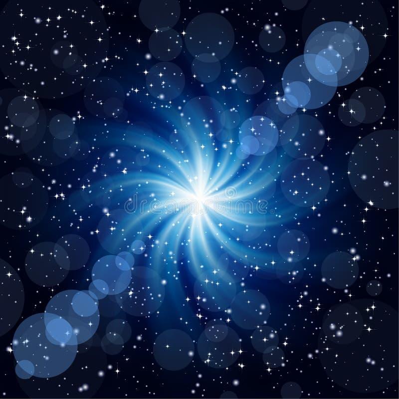 Fond bleu-foncé avec la grande étoile de pirouette. illustration stock