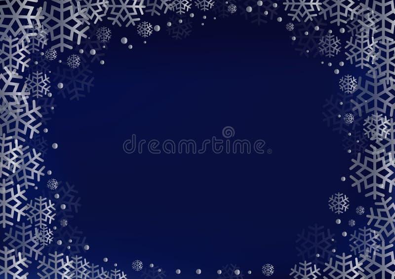 Fond bleu-foncé avec le cadre décoratif des flocons de neige et des points argentés illustration stock