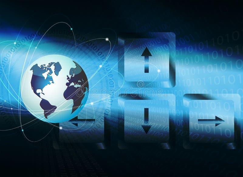 Fond bleu-foncé avec le contour du globe, clés de clavier avec des flèches illustration de vecteur