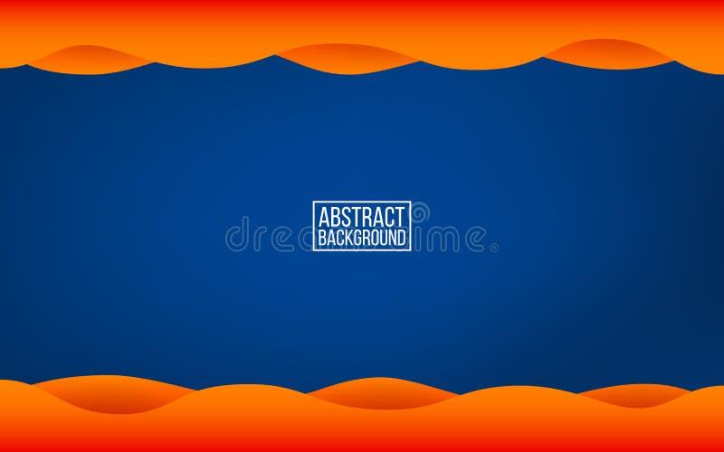 Fond bleu-foncé de couche L'orange ondule avec des ombres Contexte à la mode de couleurs pour le Web ou l'affiche Abstrait modern illustration stock
