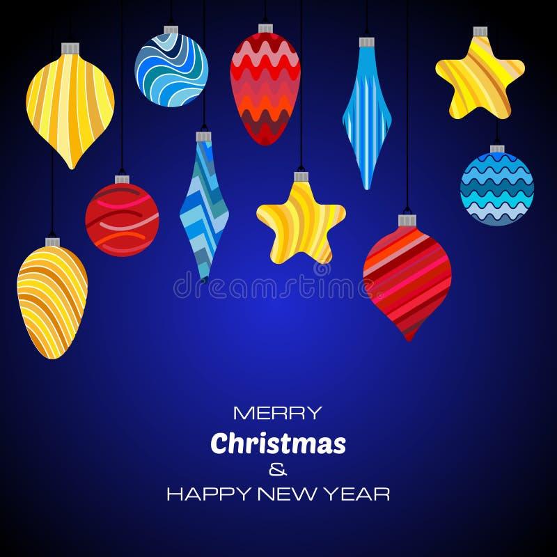 Fond bleu-foncé de Joyeux Noël et de bonne année avec des boules de Noël illustration libre de droits