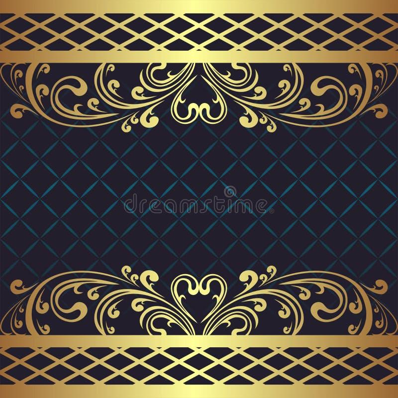 Fond bleu-foncé de luxe avec les frontières florales d'or illustration de vecteur