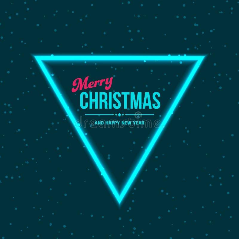 Fond bleu-foncé de Noël avec la neige et la lampe au néon illustration libre de droits